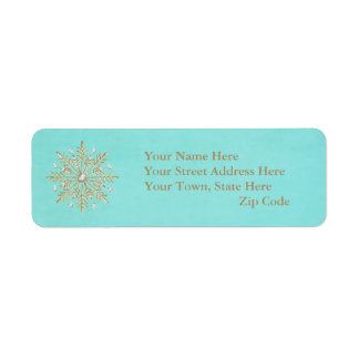 Christmas Snowflakes Aqua & Gold Return Address Label