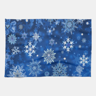 Christmas Snowflakes Blue and Silver Tea Towel
