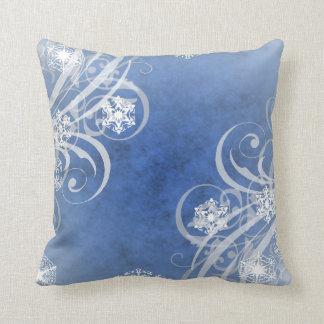 Christmas Snowflakes Blue Cushion