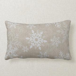 Christmas Snowflakes Burlap Pillow