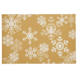 Christmas Snowflakes Door Mat in Gold Orche