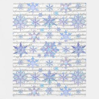 Christmas snowflakes fleece blanket