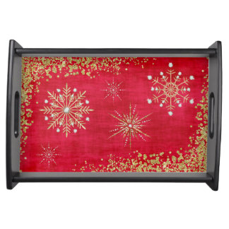 Christmas Snowflakes in Red & Gold Serving Tray
