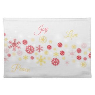 CHRISTMAS SNOWFLAKES, JOY, PEACE, LOVE PLACEMAT
