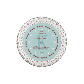 Christmas Snowflakes Monogrammed Candy Tin