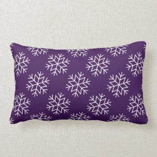Christmas Snowflakes on Purple Throw Pillow
