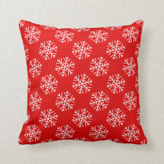 Christmas Snowflakes on Red Throw Pillow
