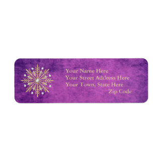 Christmas Snowflakes Purple & Gold Return Address Label