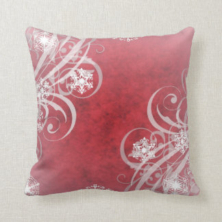 Christmas Snowflakes Red Cushion