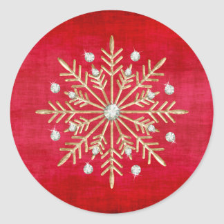 Christmas Snowflakes Red & Gold Round Sticker