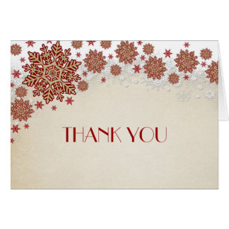 Christmas Snowflakes Winter Thank you Card