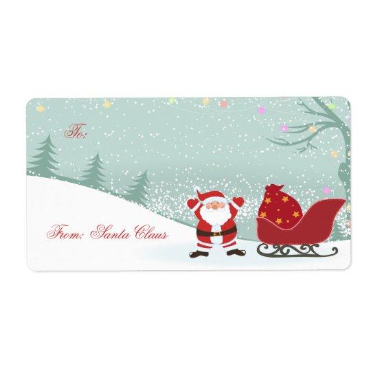 Christmas snowing + Santa sleigh gift tags Shipping Label