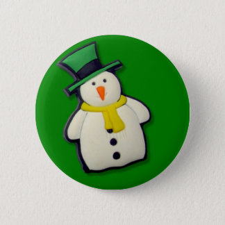 Christmas Snowman 6 Cm Round Badge