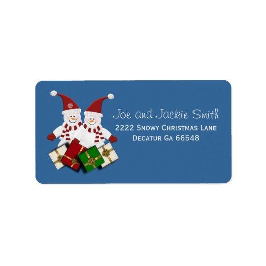 Christmas Snowman Address Labels