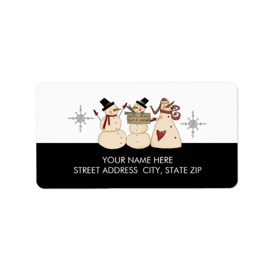 Christmas Snowman Address Mailing Labels