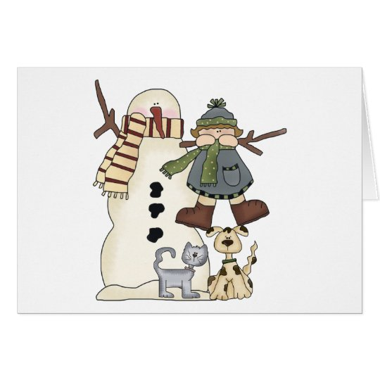 Christmas Snowman And Friends Card