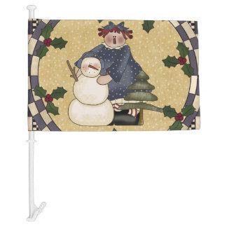 Christmas Snowman and Raggedy Annie Car Flag