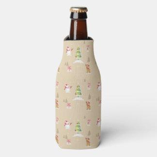 Christmas snowman and reindeer pattern bottle cooler