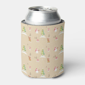 Christmas snowman and reindeer pattern can cooler
