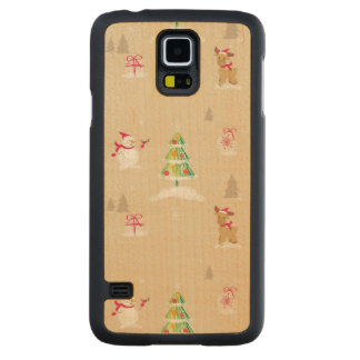 Christmas snowman and reindeer pattern carved maple galaxy s5 case