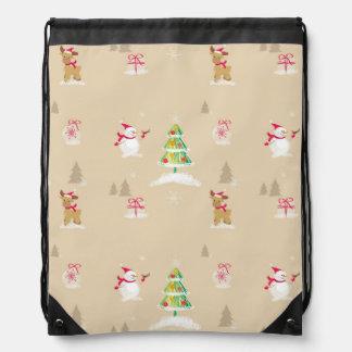 Christmas snowman and reindeer pattern drawstring bag