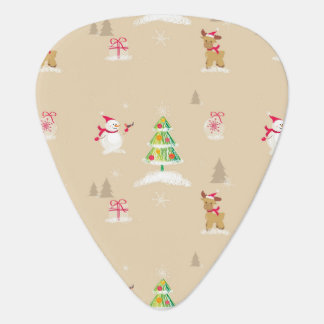 Christmas snowman and reindeer pattern guitar pick