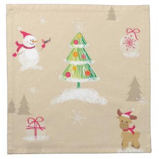 Christmas snowman and reindeer pattern napkin