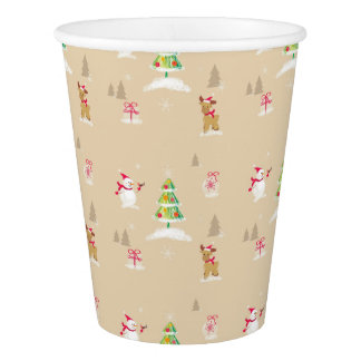 Christmas snowman and reindeer pattern paper cup
