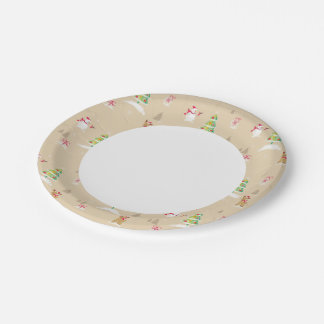 Christmas snowman and reindeer pattern paper plate