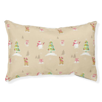 Christmas snowman and reindeer pattern pet bed