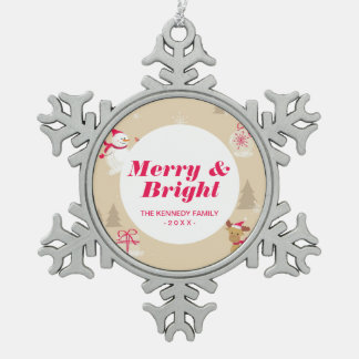 Christmas snowman and reindeer pattern pewter snowflake decoration