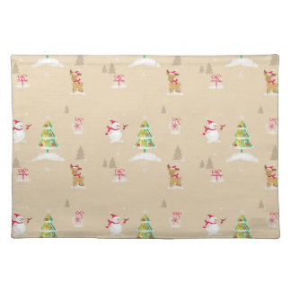 Christmas snowman and reindeer pattern placemat