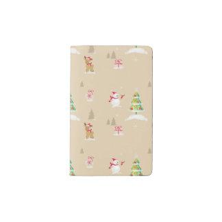 Christmas snowman and reindeer pattern pocket moleskine notebook