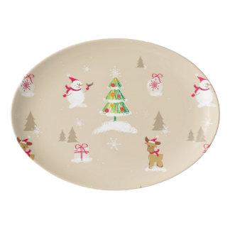 Christmas snowman and reindeer pattern porcelain serving platter