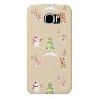 Christmas snowman and reindeer pattern samsung galaxy s6 cases