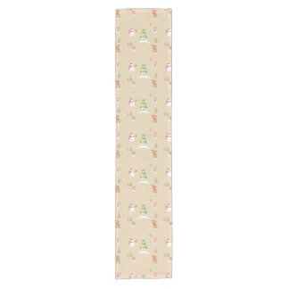 Christmas snowman and reindeer pattern short table runner