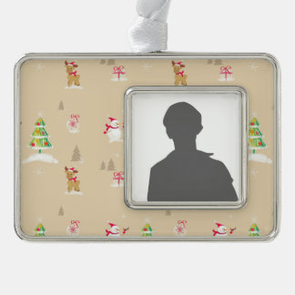 Christmas snowman and reindeer pattern silver plated framed ornament