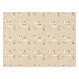 Christmas snowman and reindeer pattern tablecloth