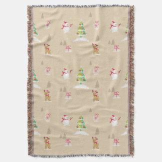 Christmas snowman and reindeer pattern throw blanket
