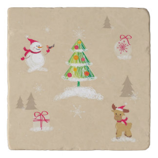 Christmas snowman and reindeer pattern trivet