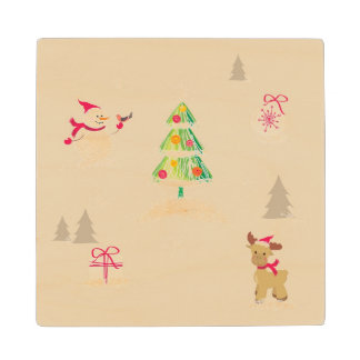 Christmas snowman and reindeer pattern wood coaster
