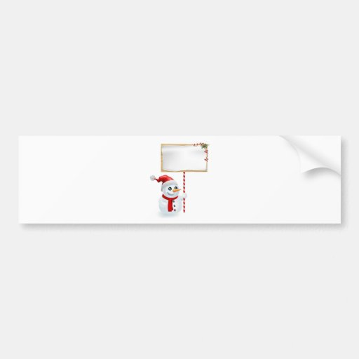 Christmas Snowman and Sign Bumper Stickers