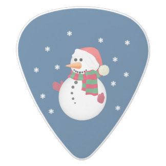 Christmas Snowman and Snow Guitar Picks White Delrin Guitar Pick