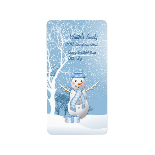 Christmas snowman and trees Avery Label
