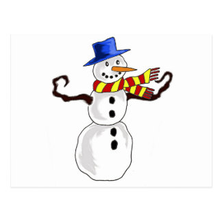 Christmas Snowman Art Postcard