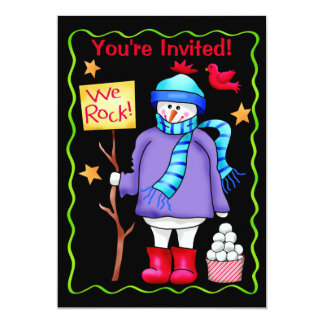 Christmas Snowman Black Party Event Invitation