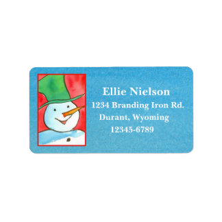 Christmas Snowman Blue Watercolor Address Label