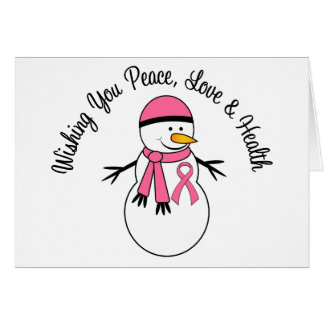 Christmas Snowman Breast Cancer Ribbon Greeting Card