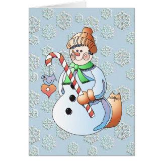 CHRISTMAS SNOWMAN by SHARON SHARPE Greeting Card