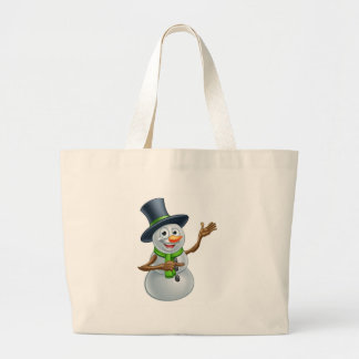 Christmas Snowman Cartoon Character Pointing Large Tote Bag